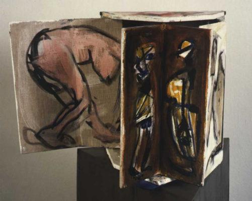 Winkelklappe mit abstrakter Darstellung des Paares