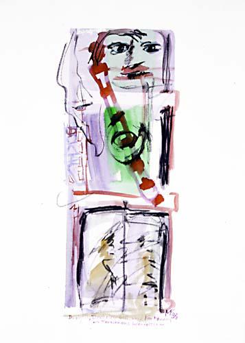 zwei Gesichter und ein schräges rot-weißes Band