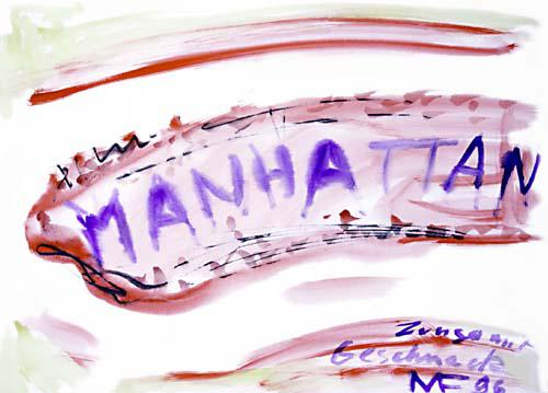 die Form Manhattans und der Schriftzug in Braun und Blau