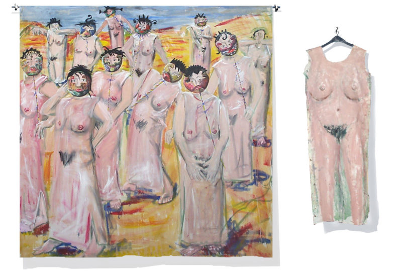 Gruppe von Menschen im weiblichen Nacktgewand