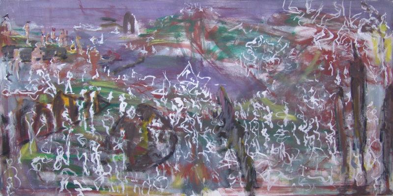 Landschaft mit Menschenmenge