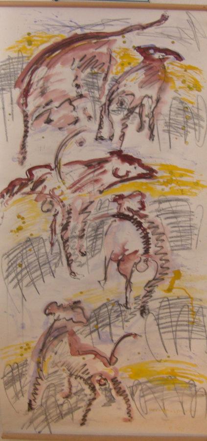 fünf hundedarstellungen in Braun