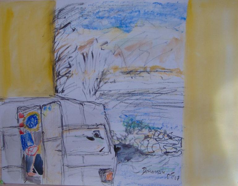zwei gelbe Flächen, Wohnmobil und die Donau bei Hainburg