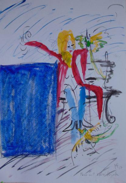 Frau auf der Bank füttert Vögel, blaues Rechteck davor