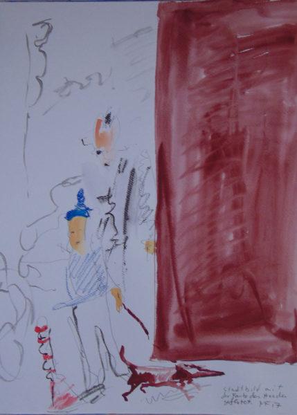 Passanten, Dackel und rotbraune Fläche rechts