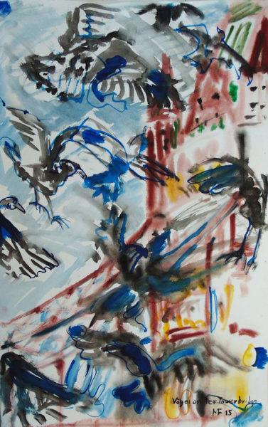 schwarze flatternde Vögel vor der rotbraun dargestellten Tower-Bridge