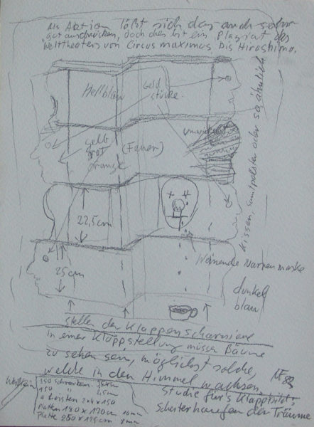 Bleistiftstudie zum Scheiterhaufen der Träume, samt Notizen