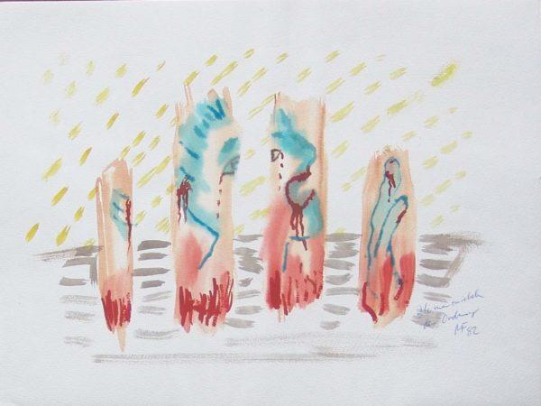 Rotbraun, Blau und Ocker zeigen ein gestecktes Portrait