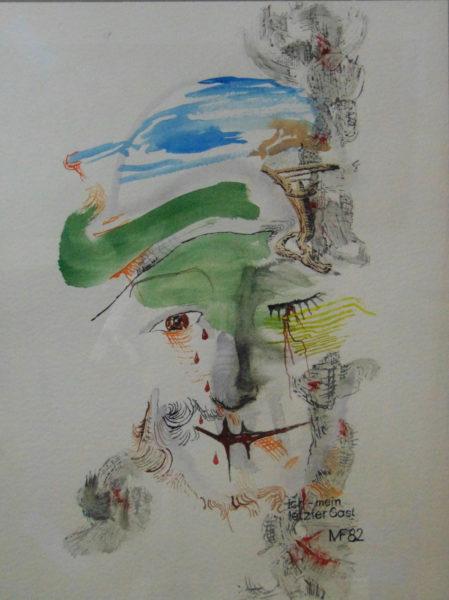 Harlekin-Gesicht mit Landschaftsanmutungen