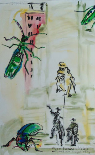 drei spanische Fliegen und das Denkmal von Cervantes