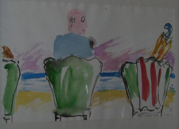 drei Stühle, das Meer im Hintergrund in Stuhl mit Sonnenschirm frei gehalten