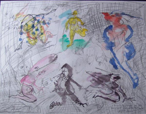 sechs Gestalten mit unzähligen Vorskizzen in Bleistift