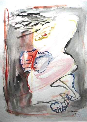 grau-rote Malerei mit hellem Frauenkörper