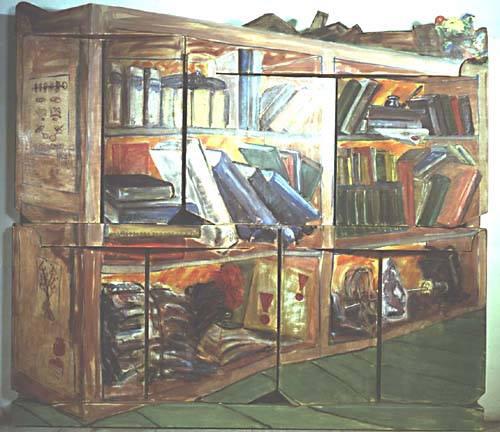 perspektivisch erkennbares Bücherregal