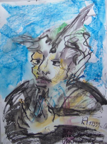 halb-schräge Darstellung einer Person, Halbtotale, in Grau und Blau