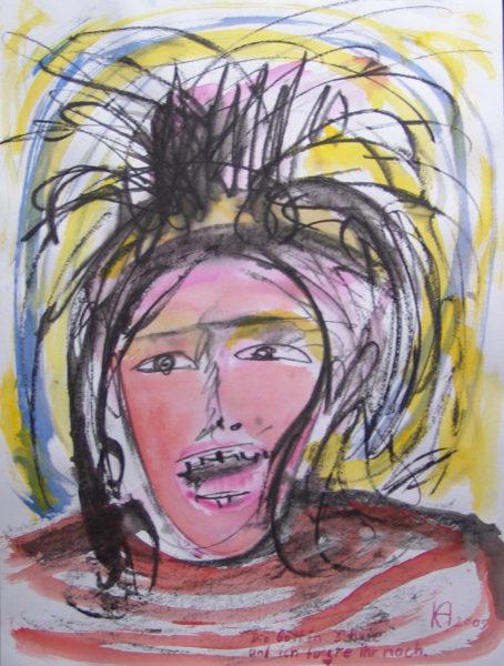 Gesicht, von wilden Haaren, Blau und Gelb umrandet, rot-streifiges Hemd