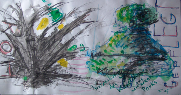 links schwarze Explosion links form-geschnittener Busch
