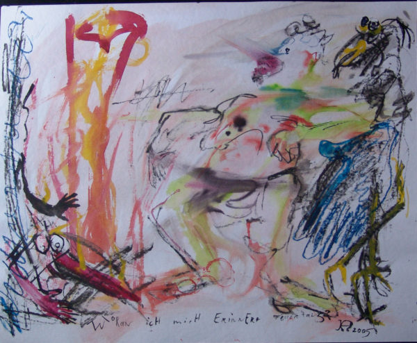 links rot-gelb, mittig stampfende Gestalt, rechts Vogelgerippe
