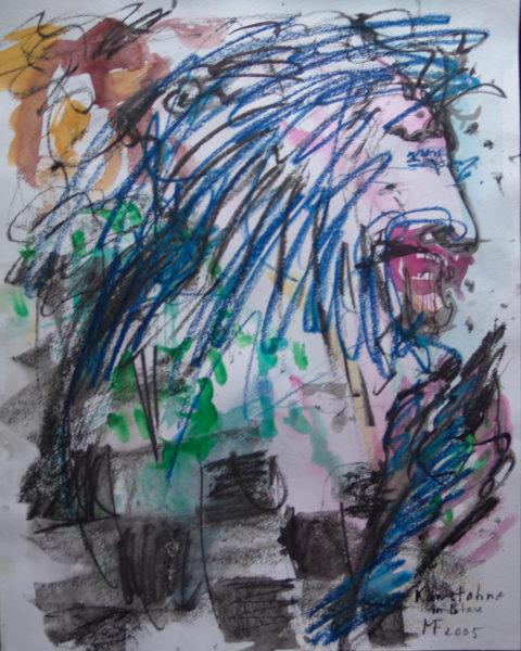 unten Schachbrettmuster und Hand, oben wilde blaue Frisur am Kopf im Profil
