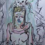 bezopftes Mädchen mit einer gezeichneten Signatur von M. Forschner auf dem Kopf
