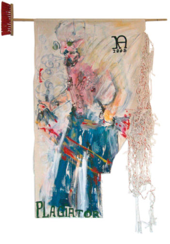 MF malend, am Besen aufgehängt