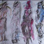 vier verschiedenfarbige Gestalten nebeneinander