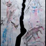 links Manfred Forschner malend mit zwei Pinsel, rechts eine nackte Frau kniend, auf den Knien einen toten Hasen