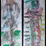 Hornschädel rechts und archaische Gestalt links