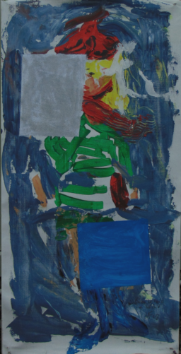 Green dress, foldable painting with hat and shoes, acrylic painting and watercolor studies, 2018
