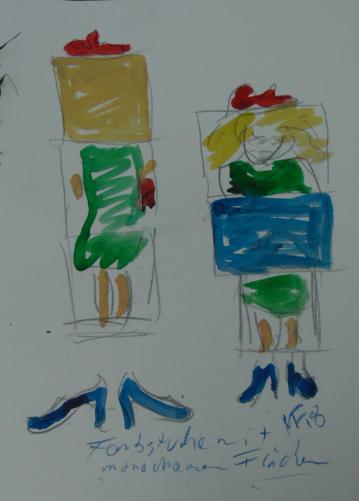 zwei Klappbildstudien zum grünen Kleid