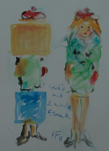 zwei Frauen mit zwei monochromen Elementen