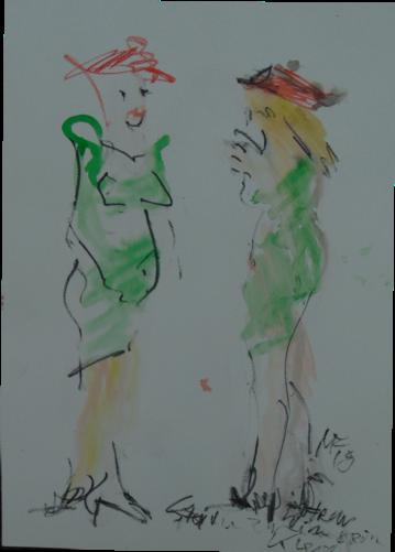 zwei Frauen im grünen Kleid
