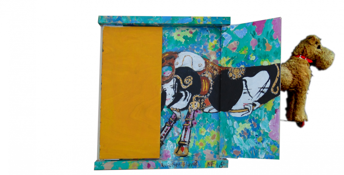 Viennese dog, foldable painting with object, 2018