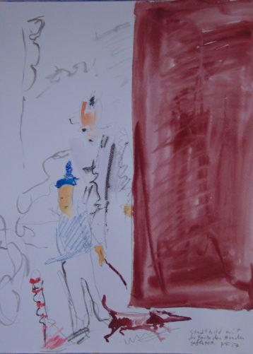 Passanten, Dackel und rotbraune Fläche