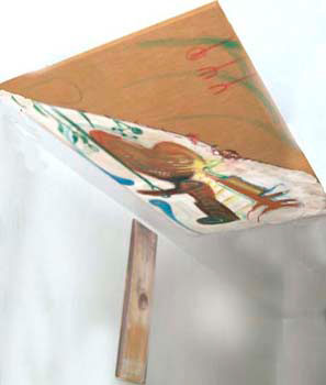 zweiteiliges Deckenbild, Darstellung Dalis mit seinen Symbolen, sowie im kleineren Bild eine Schublade