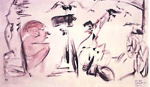 Hera, Aphrodite und Athene, sowie der männliche Paris mit Fahrrad