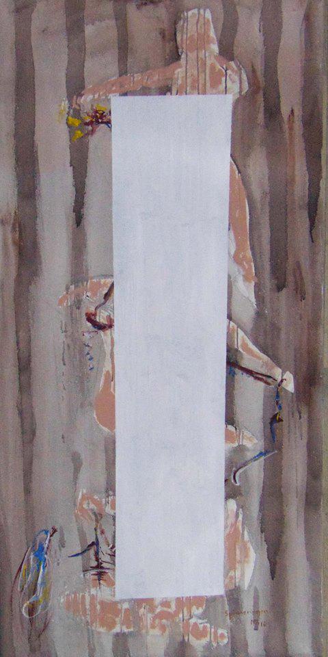 drei Gestalten, die mit Fäden hantieren sind übereinander dargestellt, teilweise bedeckt mit einem weißen Rechteck