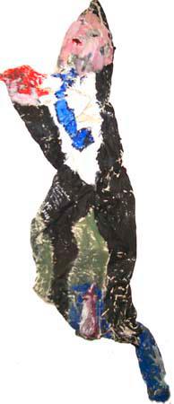 Knitterleinwandobjekt, Mann mit Anzug