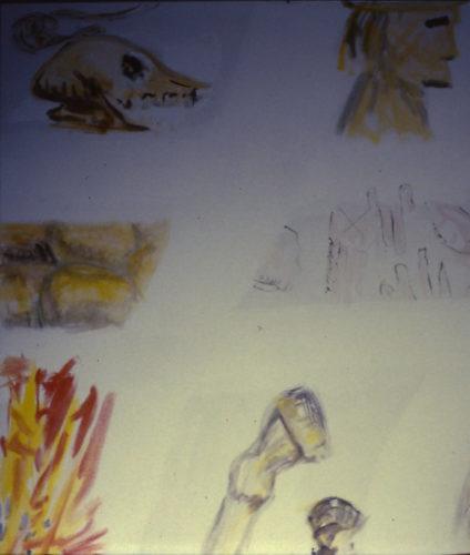Schädel, Akt , Mann, Feuer und Pferdehufe schauen zum Rand herein
