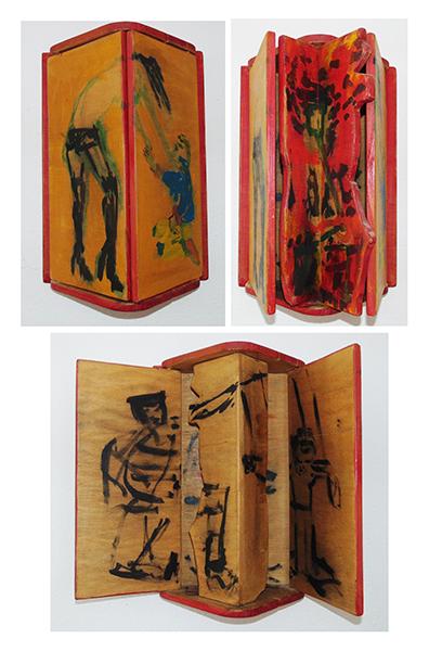 spontane Malereien auf Holzlasur, in warmen Farbtönen eingebettet