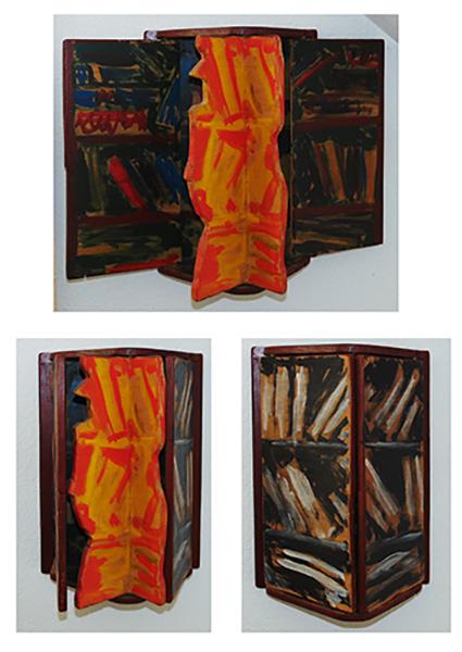 schwarz, braun, weiße Darstellung, mit orang-rotem Inneren