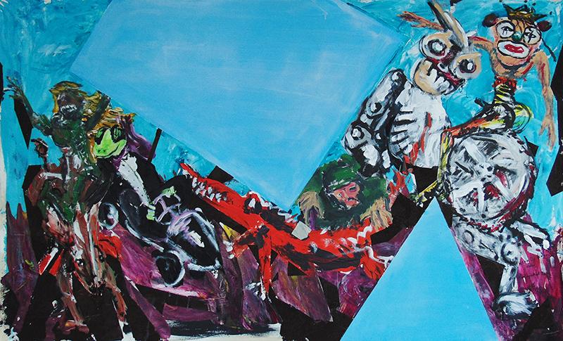 durch blaue Elemente gestört: von rechts nach links die Persiflagen der vier apokalyptischen Reiter