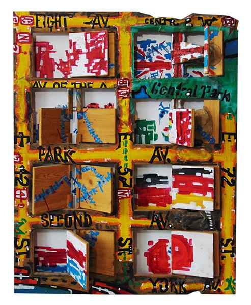 Teil des Stadtplans von NY mit Straßen und Flaggen