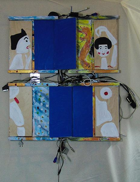 symbolische Darstellung eines Paares mit zwei mittigen blauen Rechtecken