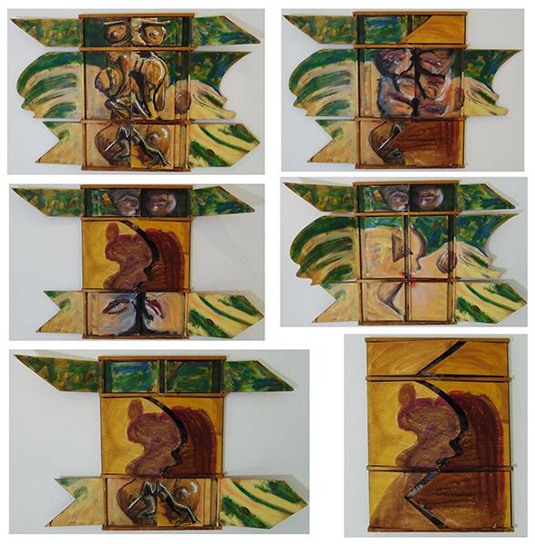 sechs Stellunggen des 12-fältigen Bildes, in Grün und Braun gehaltem