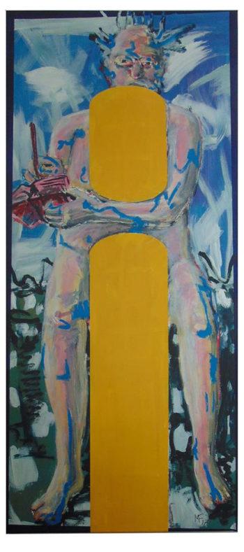 Selbstbildnis, Akt, malend hinter Monochromen Flächen