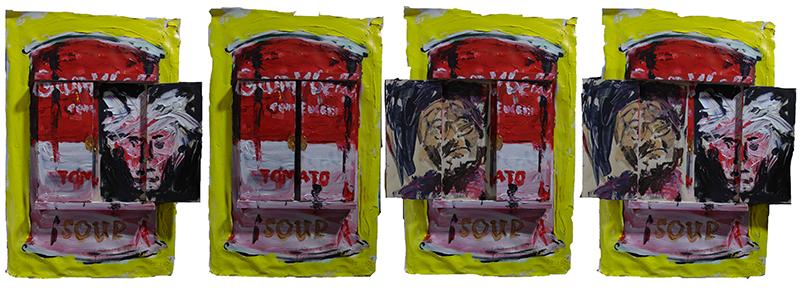 Warhols Tomatosoup mit zwei Portraits, zwei Klappen