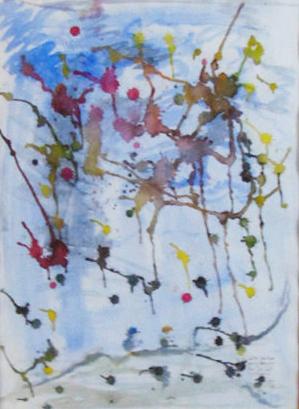 die Dripping-Methode von Jackson Pollok wurde hier über einer blau-grauen Landschaft nachgeahmt