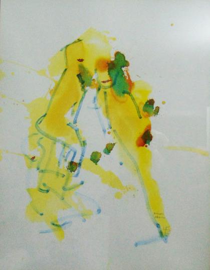 zufällige gelbe Farbspuren mit grün-orangen Tupfern und blauen Umrandungen