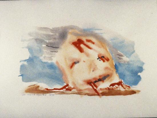 blau, rot, braun: ein Kopf mit Verletzungen